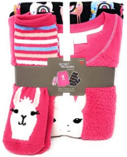 Womens Colorful Llama Plush Fleece 3-Piece Sleepwear Pajama Set