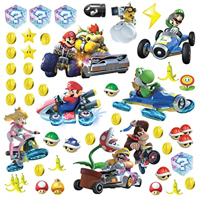 "RoomMates RMK2728SCS Ninetendo Mario Kart 8 Peel And Stick Wall Decals , 10"" x 18"",Multicolor: Home Improvement"