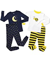 Leveret Moon & Bumble Bee 4 Piece Pajama Set 100% Cotton (Size 12M-5 Years)