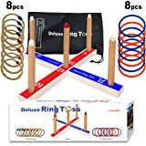 Deluxe Ring Toss Game - Kids Toy Wooden Outdoor Lawn or Beach Game - Fun Family, Friends or Office Activity