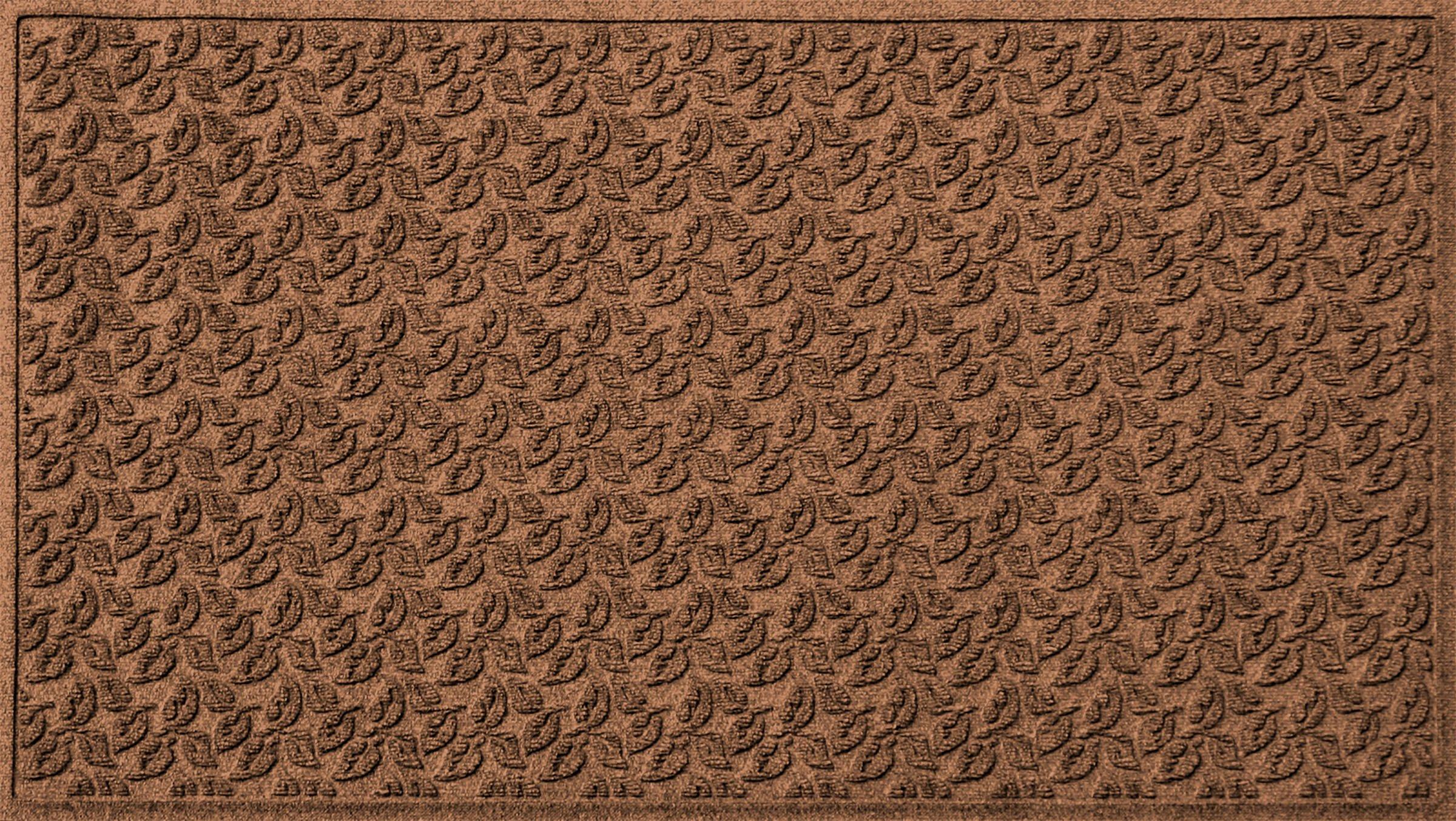 Bungalow Flooring Waterhog Doormat, 3' x 5', Skid Resistant, Easy to Clean, Catches Water and Debris, Dogwood Leaf Collection, Dark Brown