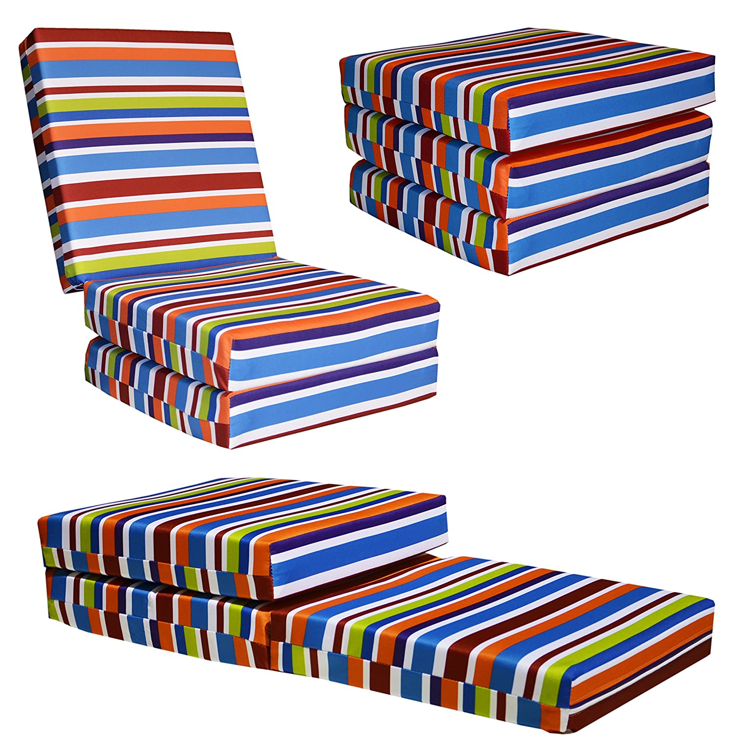 KIDS CHAIRBED BLUE STRIPE Kids Folding Chair Bed Futon Guest Z