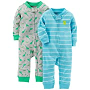 Simple Joys by Carter's Baby Boys' 2-Pack Cotton Footless Sleep and Play, Dino/Light Blue Stripe, 6-9 Months