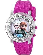 Disney Frozen FZN3580 Reloj de Ana y Elsa con esfera que destella, correa rosada con brillantina, para niña