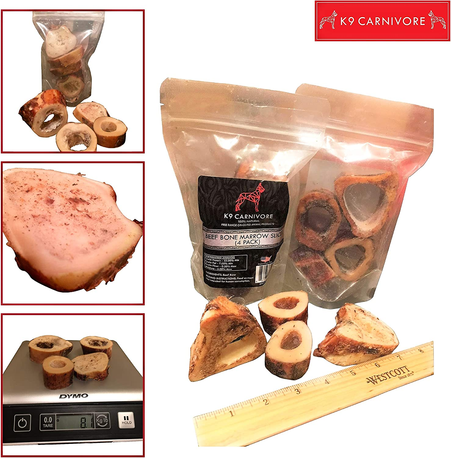 K9 CARNIVORE Smoked Marrow Beef Bone Slices (4 Pack) - Highly Digestible, Healthy, Long Lasting & Natural Dog Treat Chews Made in USA - Best for Medium and Large Breed Dogs