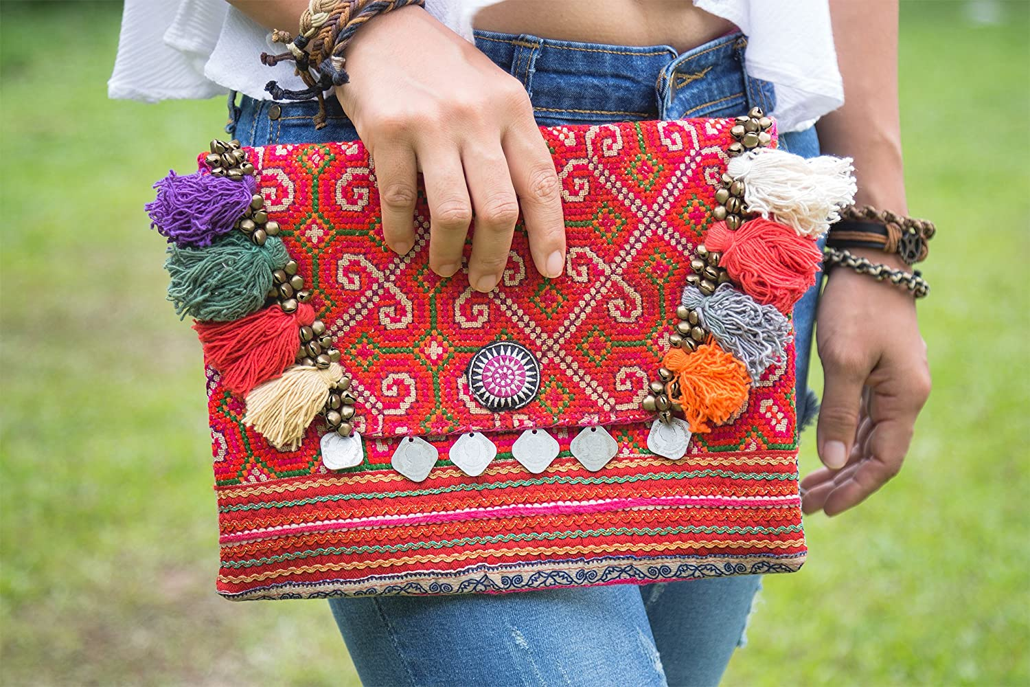 Changnoi Bohemian Clutch Bag Handmade Vintage Hmong Embroidered Pom Poms Fair Trade