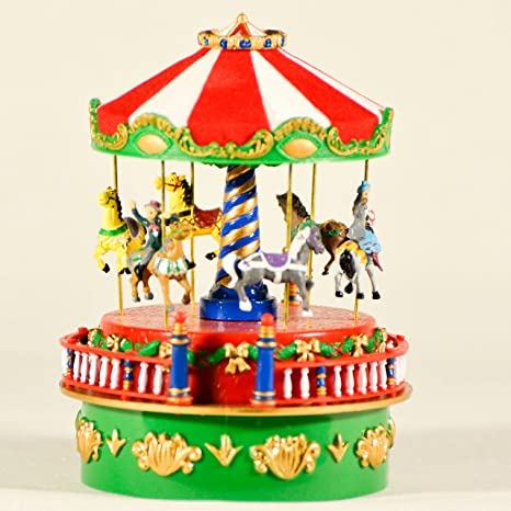 elitetreasures mr christmas mini carnival carousel table top decoration animated musical carnival carousel wound