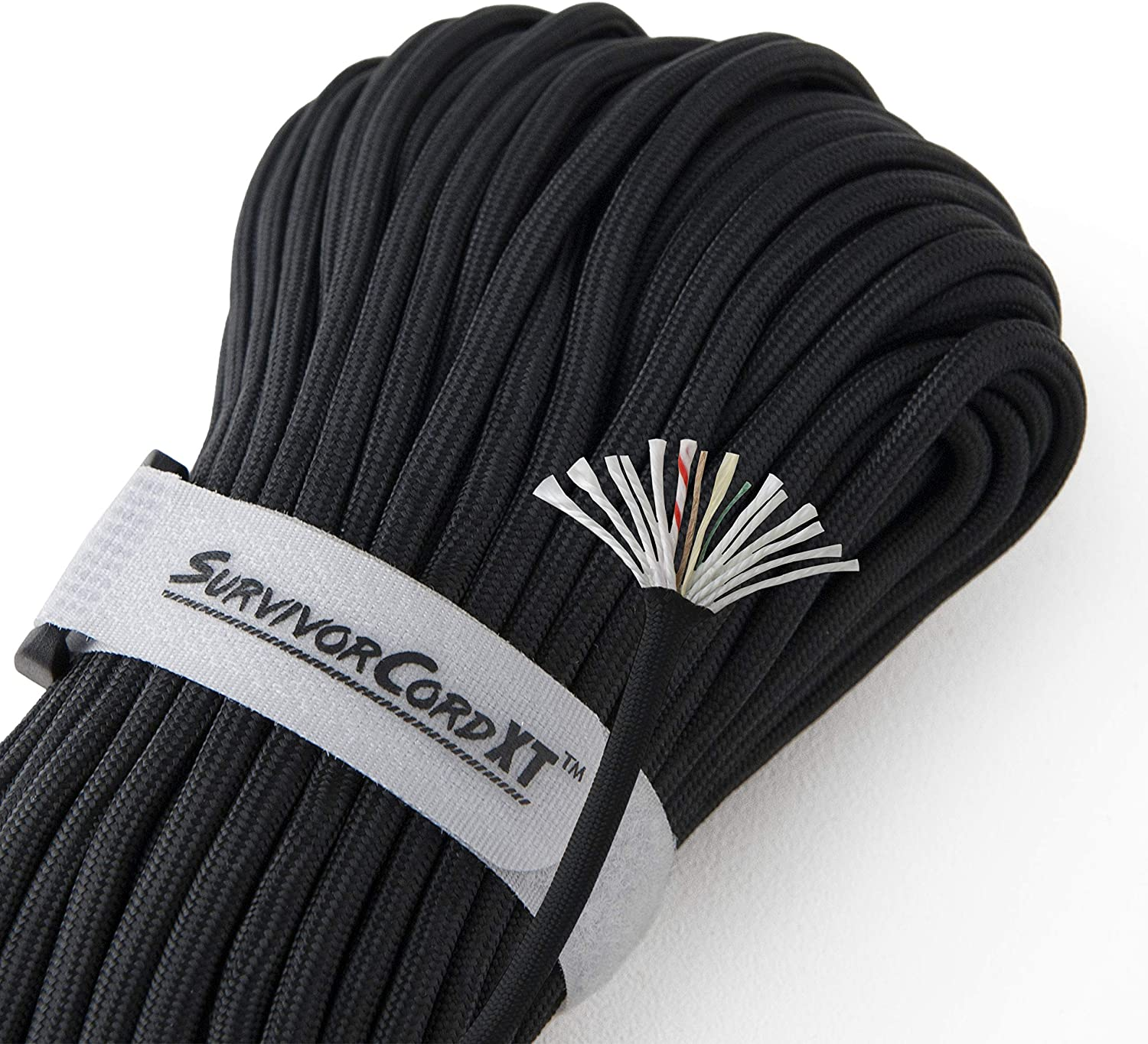 1,000 LB SurvivorCord XT with Integrated Kevlar Thread Braided Fishing Line 7//32 Diameter and Waterproof Fire Tinder. Black 103 FEET Patented Military Type IV 750 Paracord//Parachute Cord