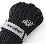 "1,000 LB SurvivorCord XT | Black, 103 FEET | Patented Military Type IV 750 Paracord/Parachute Cord (7/32"" Diameter) with…"