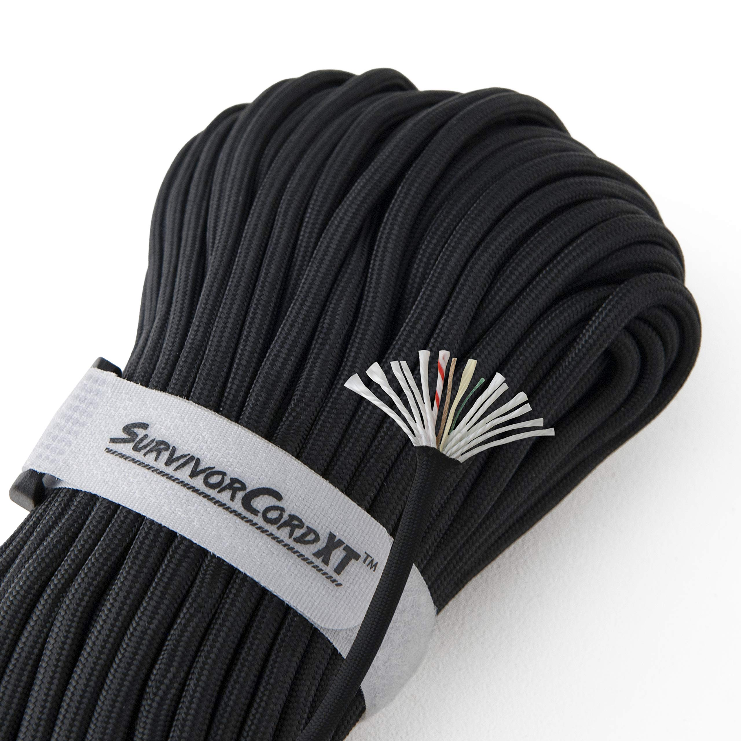 1,000 LB SurvivorCord XT | Black, 103 FEET | Patented Military Type IV 750 Paracord/Parachute Cord (7/32'' Diameter) with Integrated Kevlar Thread, Braided Fishing Line, and Waterproof Fire Tinder.