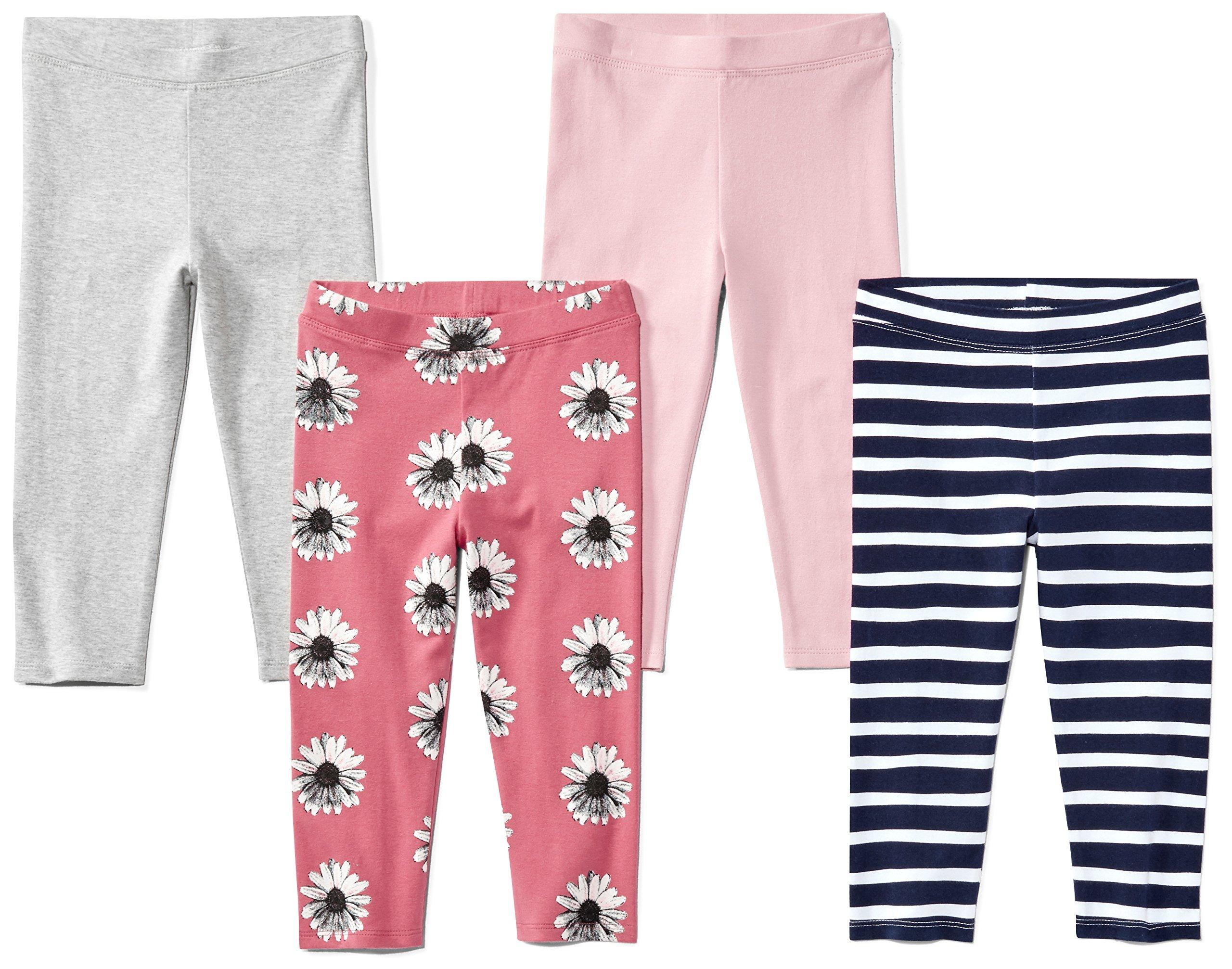 Amazon Brand - Spotted Zebra Girls' Little Kid 4-Pack Capri Leggings, Floral, Small (6-7)