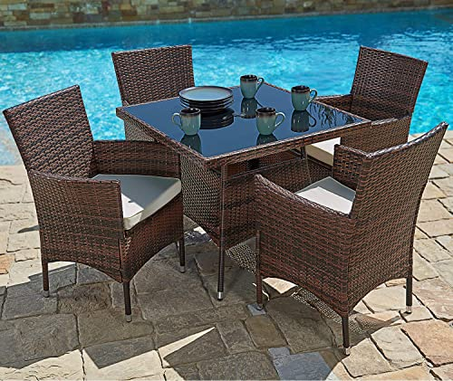 SUNCROWN Outdoor Furniture All-Weather Square Wicker Dining Table and Chairs 5-Piece Set Washable Cushions, Patio, Backyard, Porch, Garden, Poolside, Tempered Glass Tabletop, Modern Design