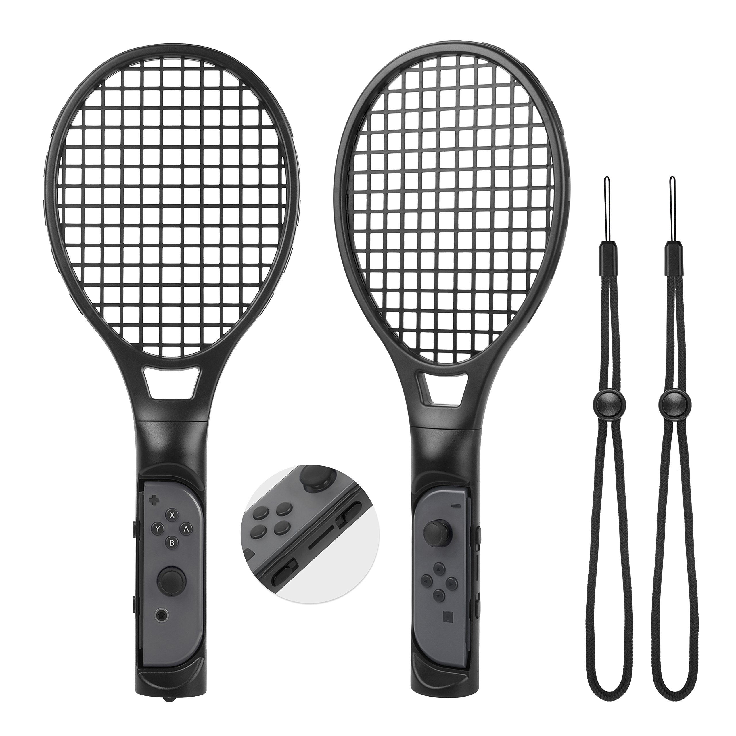 Tennis Racket for Mario Tennis Aces -Zecti Nintendo Switch Joy-con Accessories for Mario Tennis Aces Game, Tennis Racket Grips for Switch Joy-con Pack of 2 (Black) by Zecti