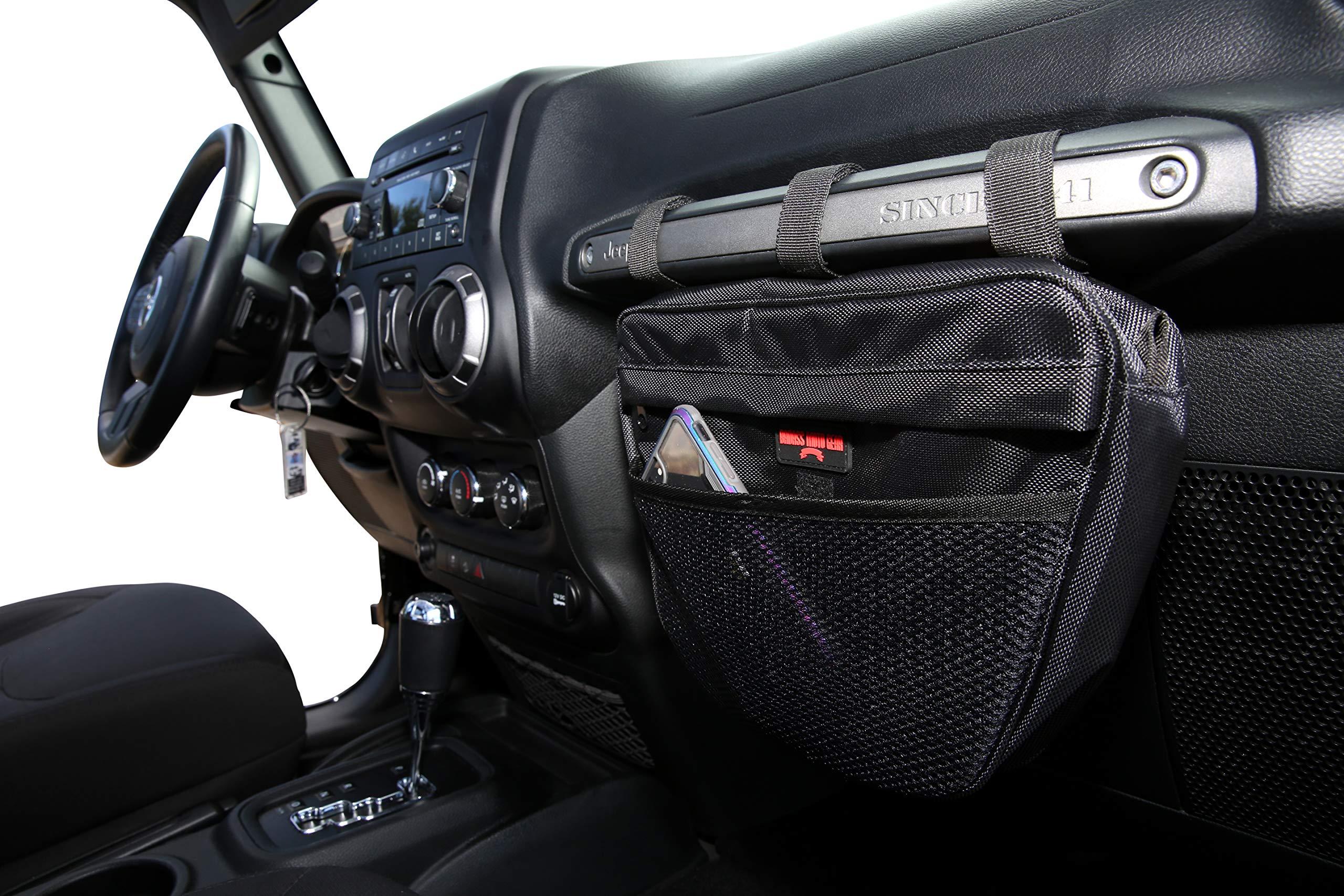 Badass Moto Gear Jeep Wrangler Storage Pouch. Waterproof Interior Accessories Organizer Bag Handles Phone, Sunglasses, Tools. EZ Access Mesh Pocket. Mount to Passenger Grab Handle. for JK TJ YJ CJ JL by Badass Motogear