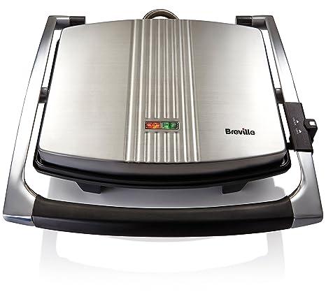 Breville VST026 Sandwichera tipo Panini 2000W, 2000 W, 3 Decibeles, Acero Inoxidable, Platino