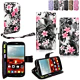 Alcatel One Touch - Cellularvilla Pu Leather Wallet Card Flip Open Pocket Case Cover Pouch For Alcatel One Touch Fierce 2 7040T (Black Pink Flower)