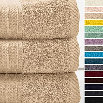Lumaland Premium Set 3 Toallas 70 x 140 cm-100% algodón 450 g/m² con Cinta para Colgar Beige: Amazon.es: Hogar