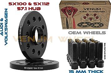 Wheel Slip On Spacer Kit 15 mm 5x100 /& 5x112 57.1 mm Hub Centric Bolts VW AUDI