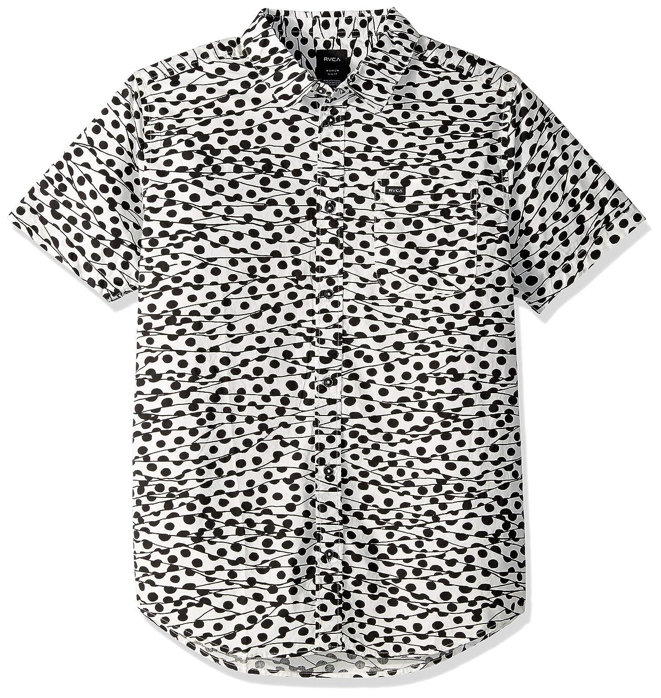 RVCA Mens Gerrard Short Sleeve Woven Button Front Shirt