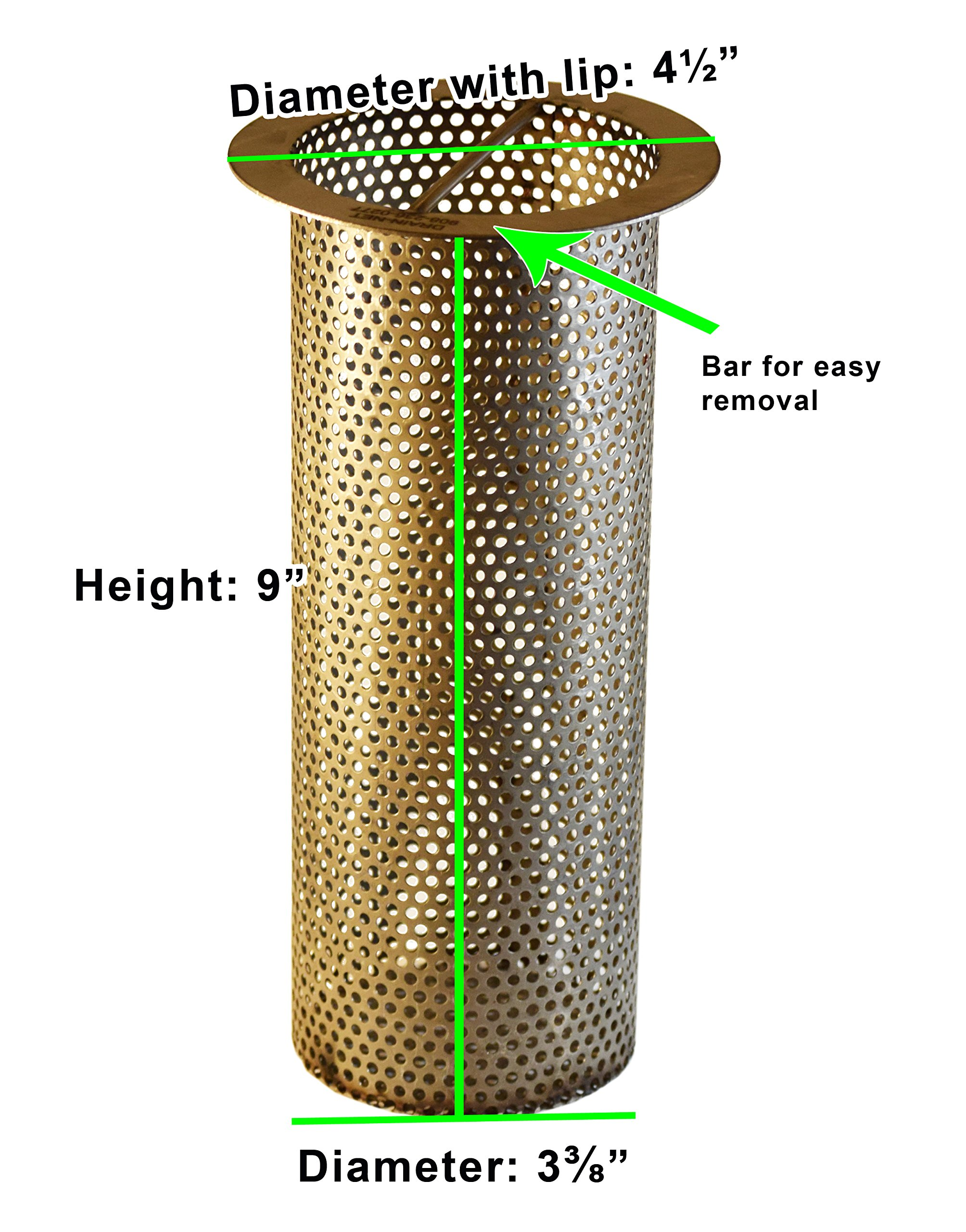 4'' Commercial Floor Drain Strainer, Perforated Stainless Steel, 9'' tall by Drain-Net (Image #2)