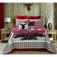 Regal Comfort Virah Bella Chic Printed 3pc Quilt Set, Merry Christmas Reindeer Full/Queen Bed Sheets Design (90″ X 90