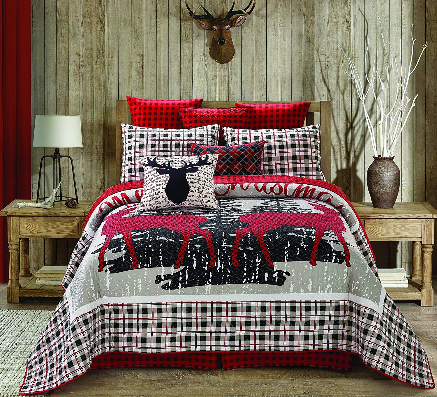 "Regal Comfort Virah Bella Chic Printed 3pc Quilt Set, Merry Christmas Reindeer Full/Queen Bed Sheets Design (90"" X 90"", Christmas Plaid Red White) Holiday Bedding"