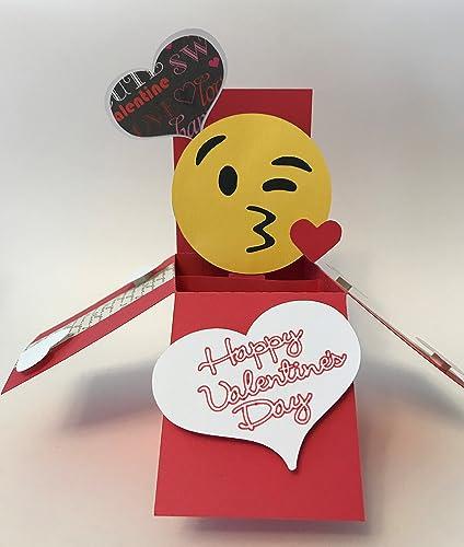 Amazon Com Happy Valentines Pop Up Box Card Emoji Face And Hearts