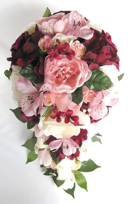 Amazon.com: Wedding bouquets Bridal Silk Flowers BURGUNDY Light PINK ...
