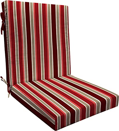 Amazon Com Honeycomb Indoor Outdoor Milan Stripe Cherry Highback Dining Chair Cushion Recycled Polyester Fill Weather Resistant Patio Cushions 21 W X 43 L X 4 T Garden Outdoor
