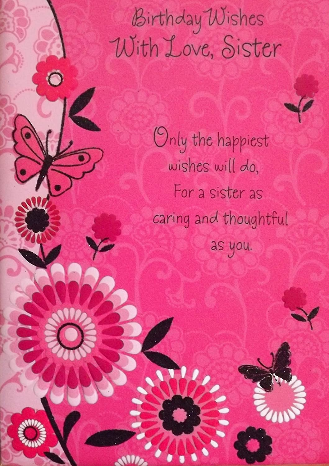Ladies Pink Black Birthday Wishes With Love Sister Birthday