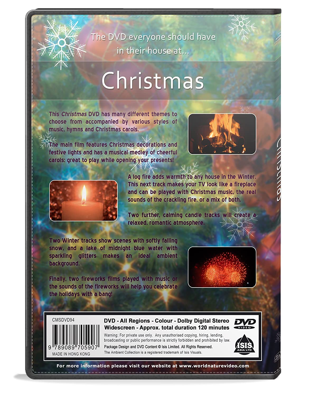 amazon com christmas dvd with falling snow x mas lights fireplace