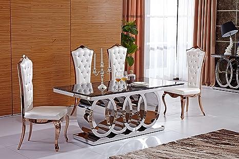 Luxury italian style tavolo da pranzo crema o nero marmo top 180