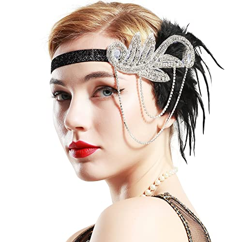 Babeyond diadema de Charlestón años 20Flapper Gatsby accesorios gran Gatsby Headpiece 20s pluma diad...