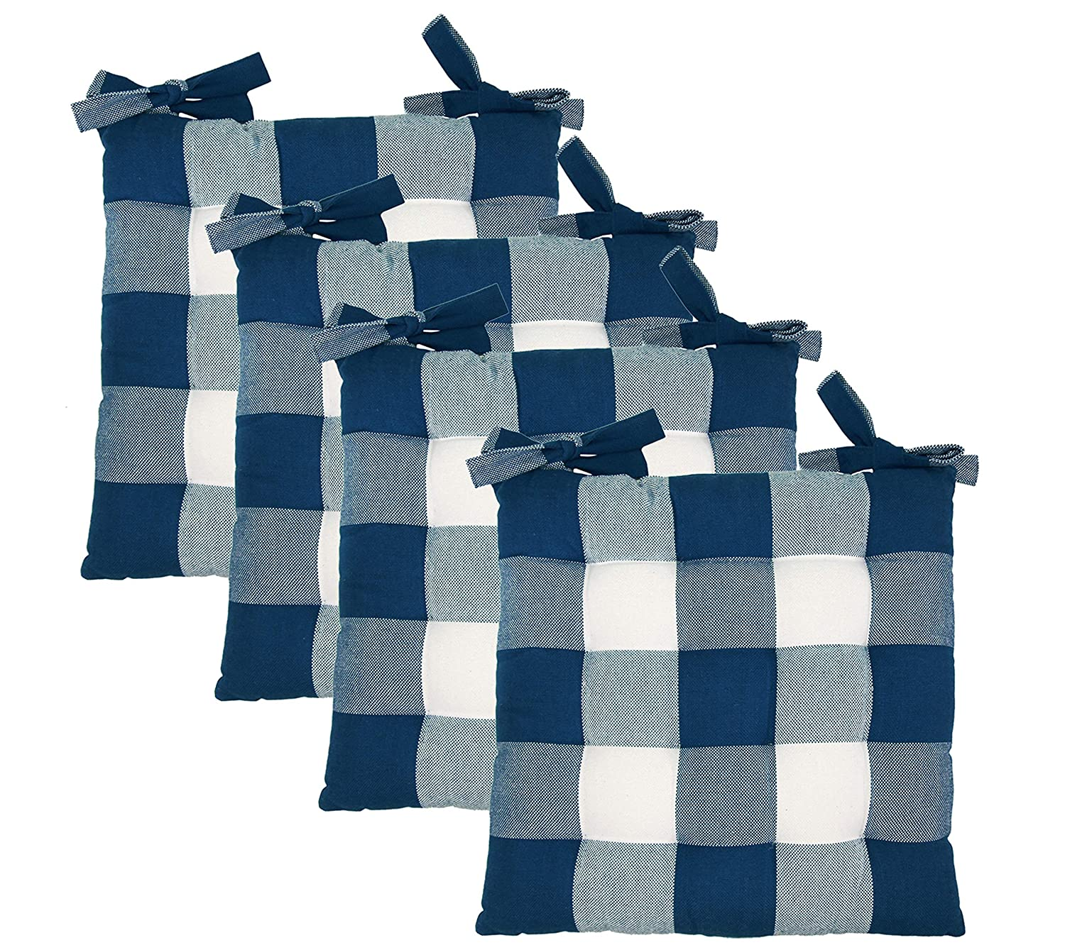 Cotton Craft - Set of 4 - Buffalo Check Chairpad - Navy - 17x17 Inches- Dining Chair Pad Cushion with Ties- Classic Design- Easy Fit to Chair