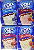 Pop Tarts Variety Pack, Frosted FRUIT Flavors: Strawberry, Blueberry, Cherry, and Raspberry. Bundle of 4- 8 Count Boxes, 1 of Each Flavor. Great Care Package or Gift