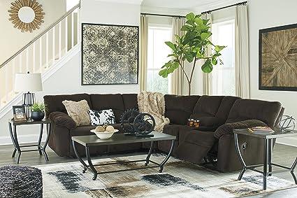 Charmant Hopkinton Contemporary Fabric Chocolate Color Reclining Sectional Sofa