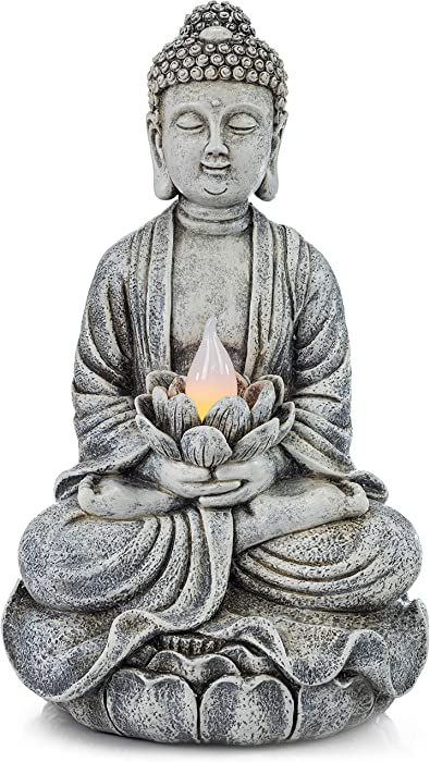 VP Home Zen Buddha Solar Powered LED Outdoor Decor Garden Light