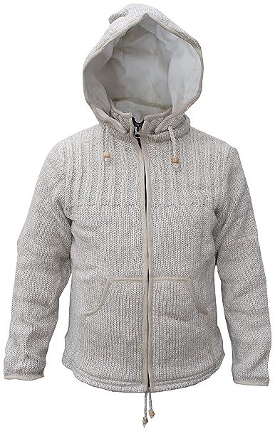 Little Kathmandu Chaqueta de lana de hombre con interior de forro polar, con capucha desmontable