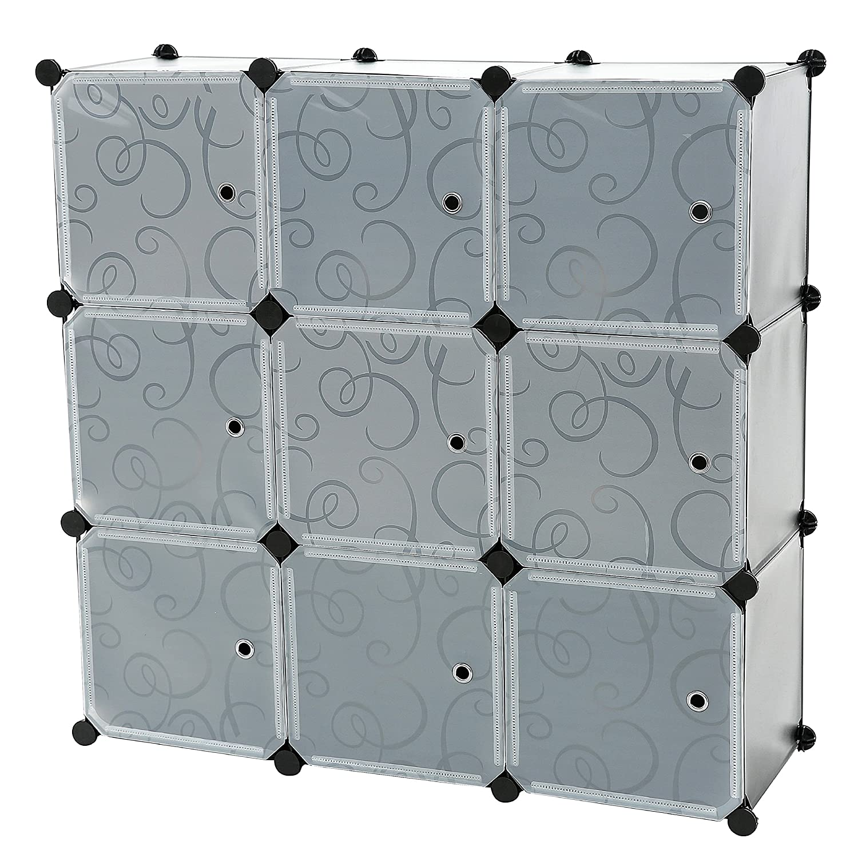 C&AHOME - DIY 4 Cube Bookcase Shelf Semitransparent Storage Organizer Closet Cabinet, Translucent SBTM3004A