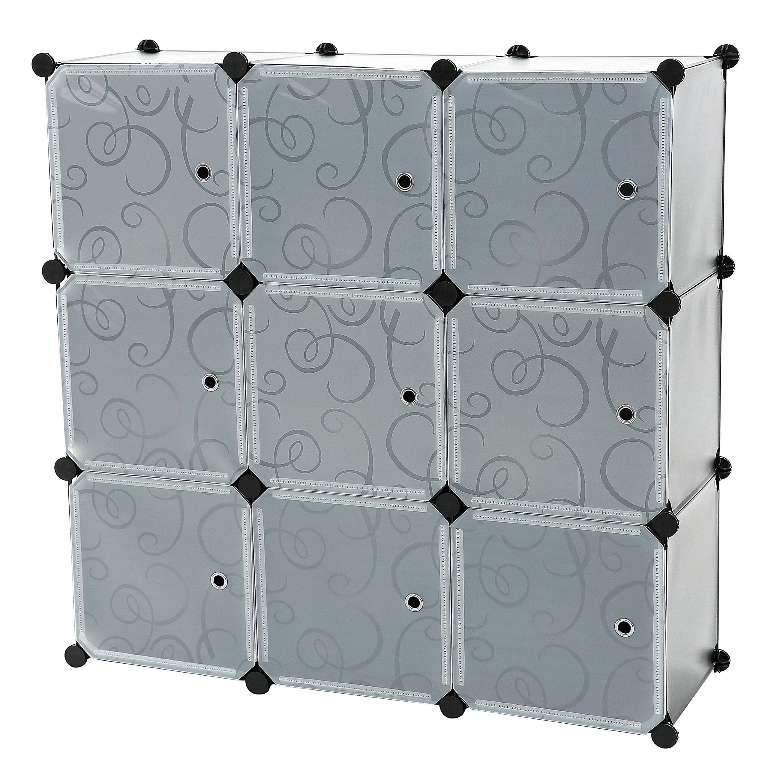 C&AHOME - 9 Cube Storage Organizer DIY Bookcase Shelf Toy Rack with Doors, Black