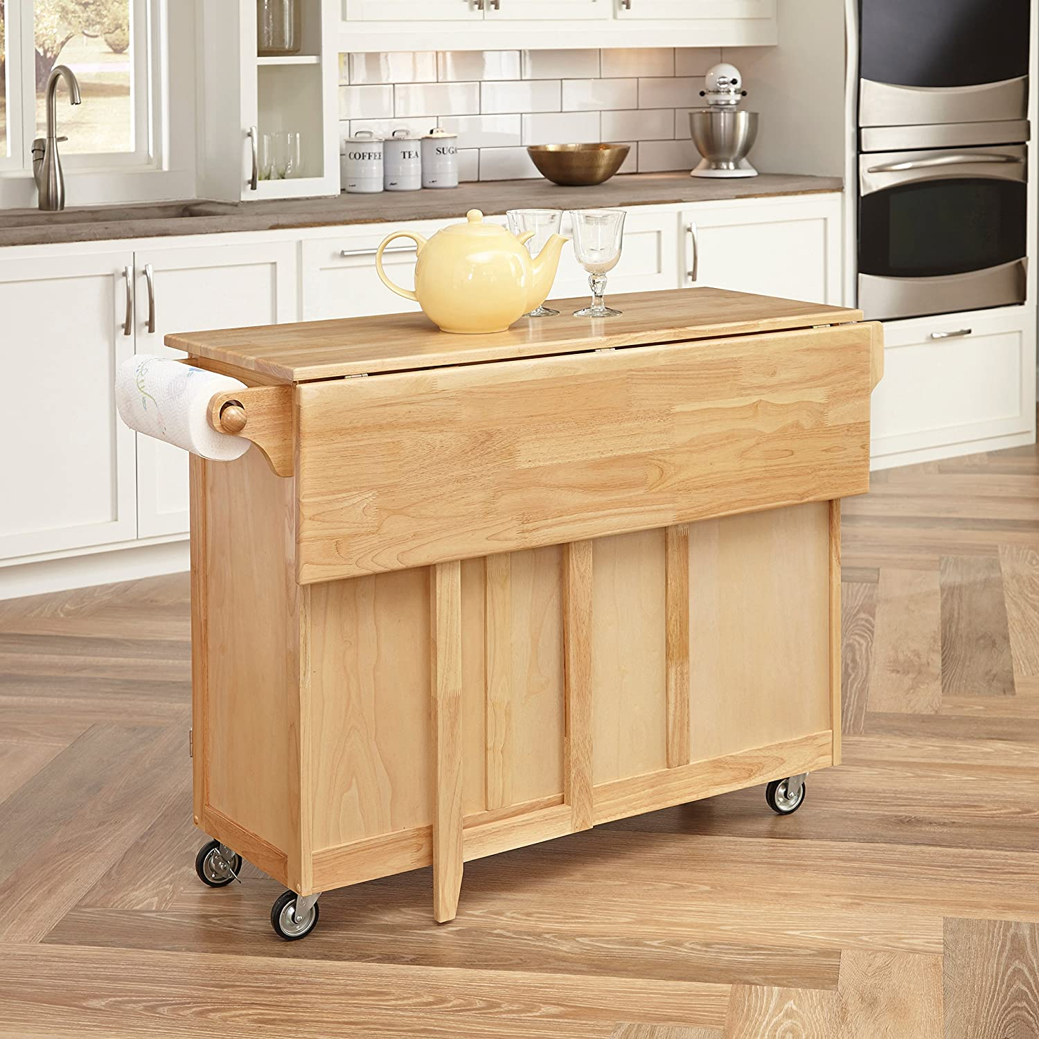 Amazon.com   Home Styles 5089 95 Kitchen Center With Breakfast Bar, Natural  Finish   Bar U0026 Serving Carts