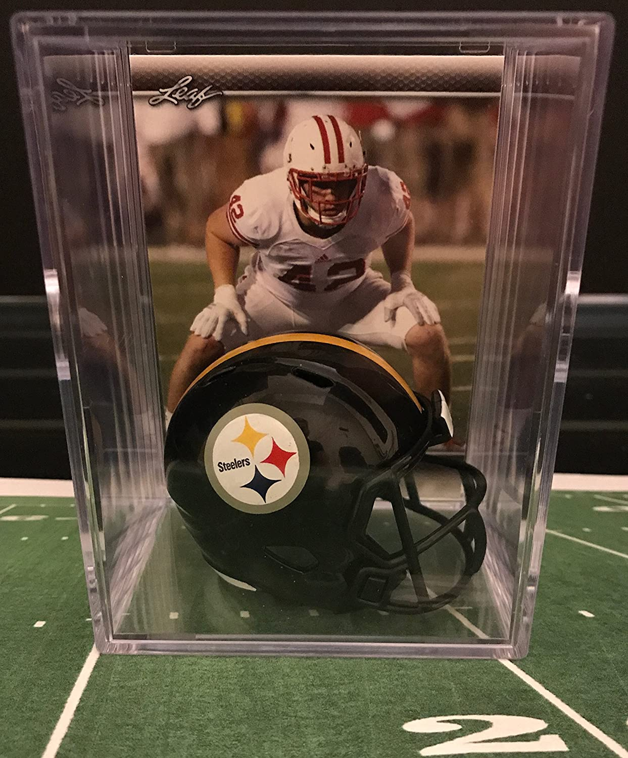 Pittsburgh Steelers NFL Helmet Shadowbox w/ T.J. Watt card Riddell