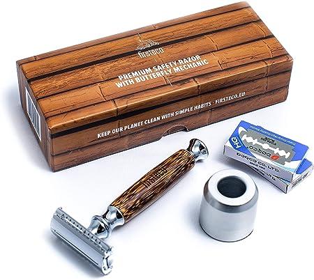 Firsteco® premium Maquinilla de Afeitar Clásica set kit innovador mecanismo de mariposa + soporte + 20 cuchillas mango de bambú madera hecha a mano hombre mujer barba navaja seguridad peine cerrado