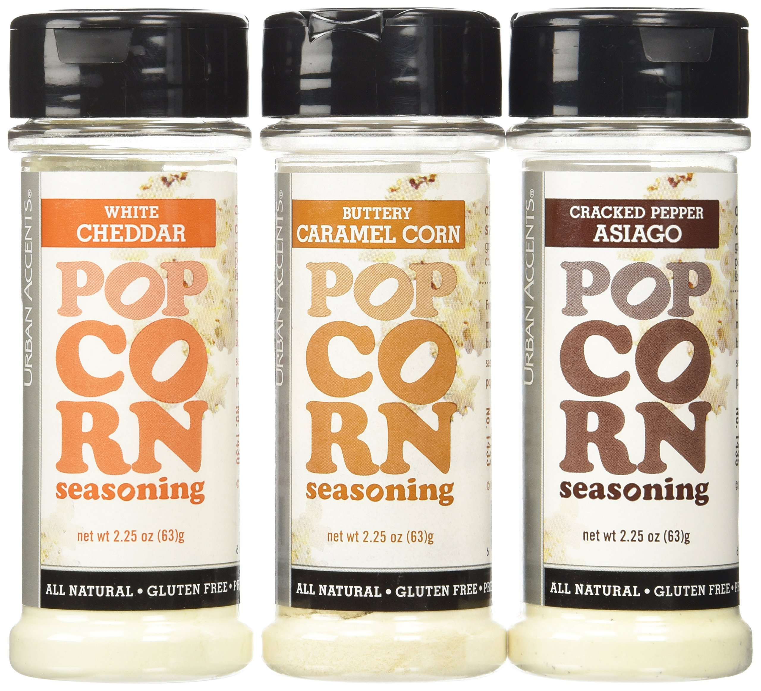Urban Accents Popcorn Seasoning, Buttery Caramel Corn/Cracked Pepper Asiago/White Cheddar, 2.25 oz. (Pack of 3)