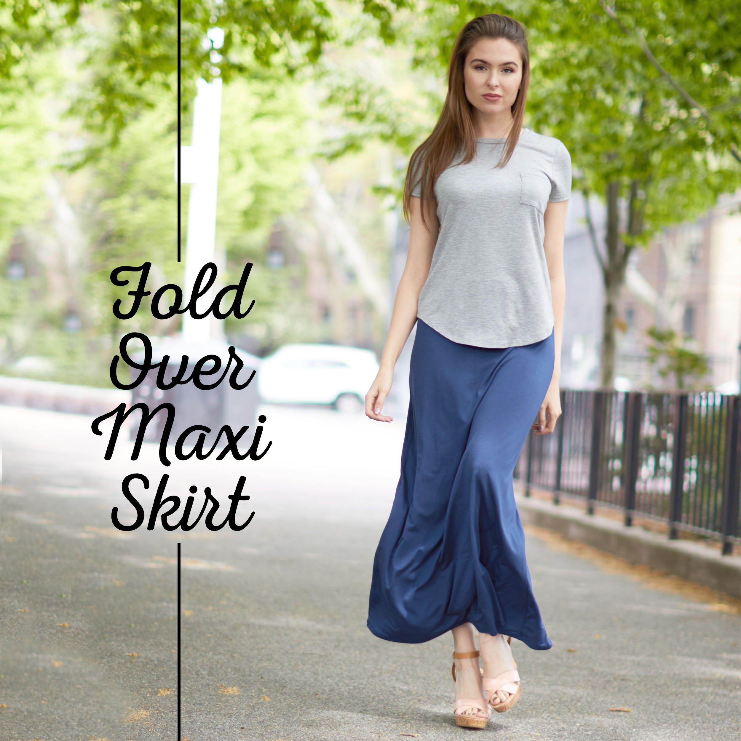X America Womens Long Stylish Foldover Maxi Skirt, Rayon Spandex, Junior & Plus Dark Olive