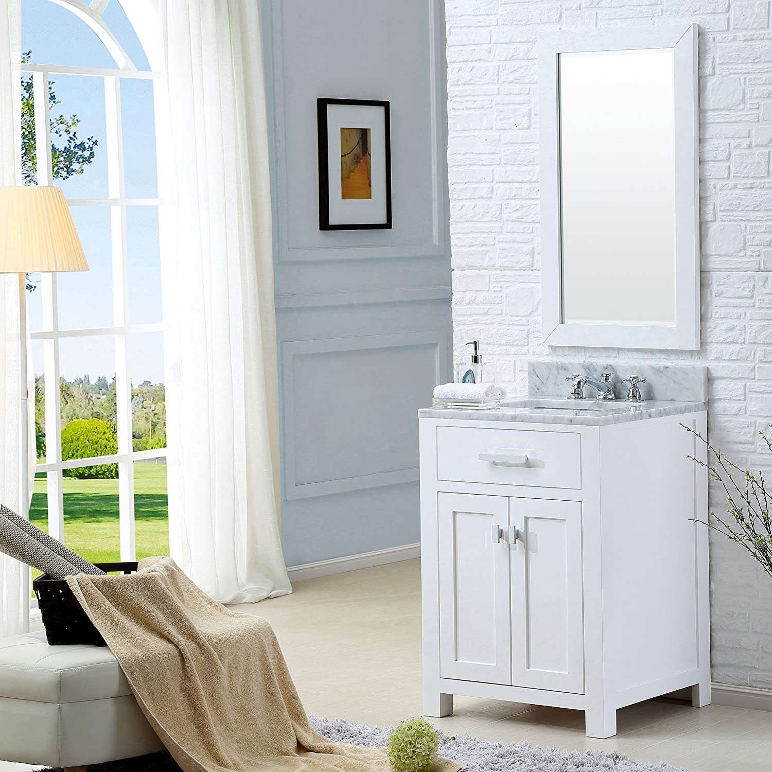 Water Creation Madison 24WB 24 Solid White Single Sink Bathroom