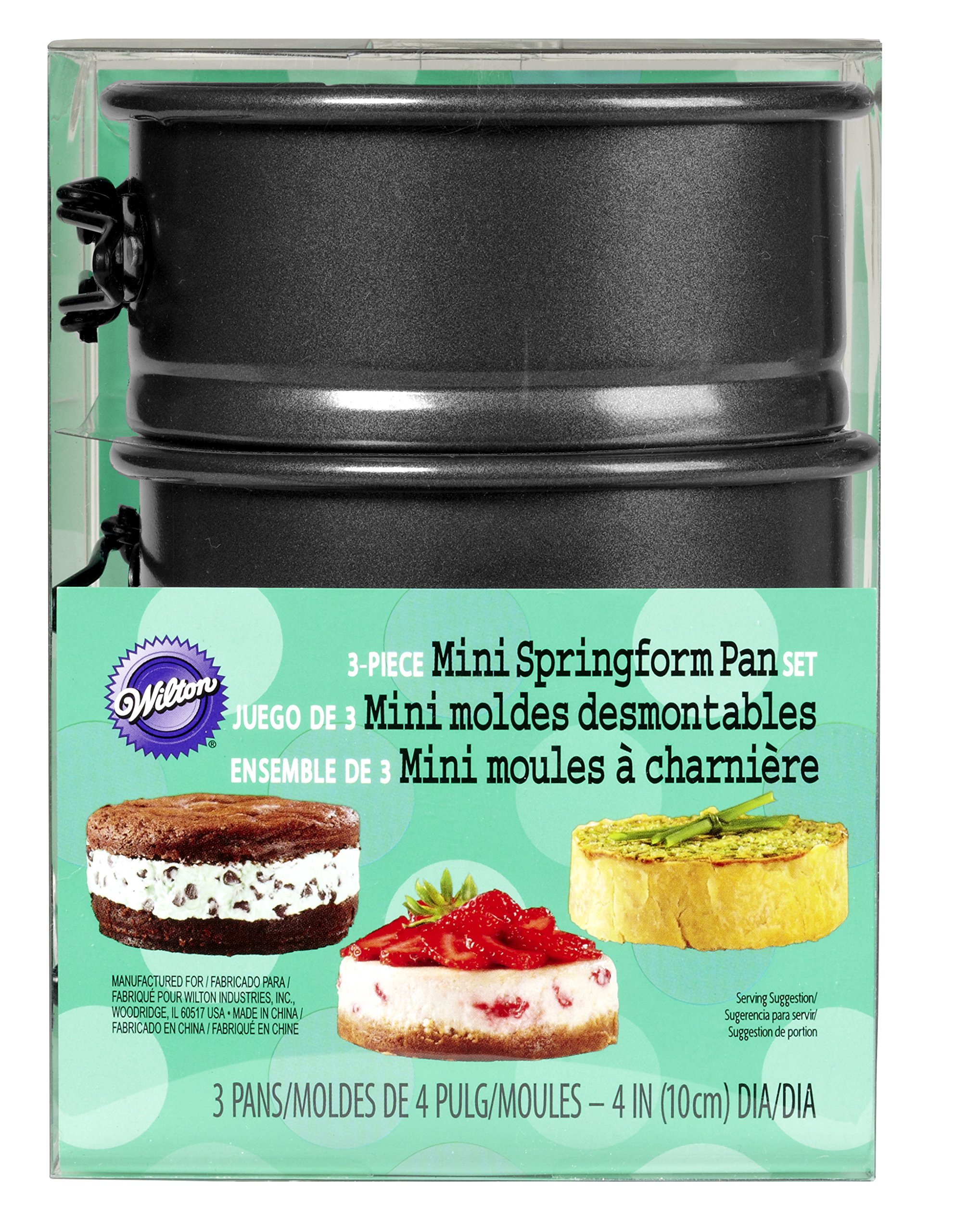 Wilton 4-Inch Mini Springform Pans Set, 3-Piece for Mini Cheesecakes, Pizzas and Quiches by Wilton (Image #2)