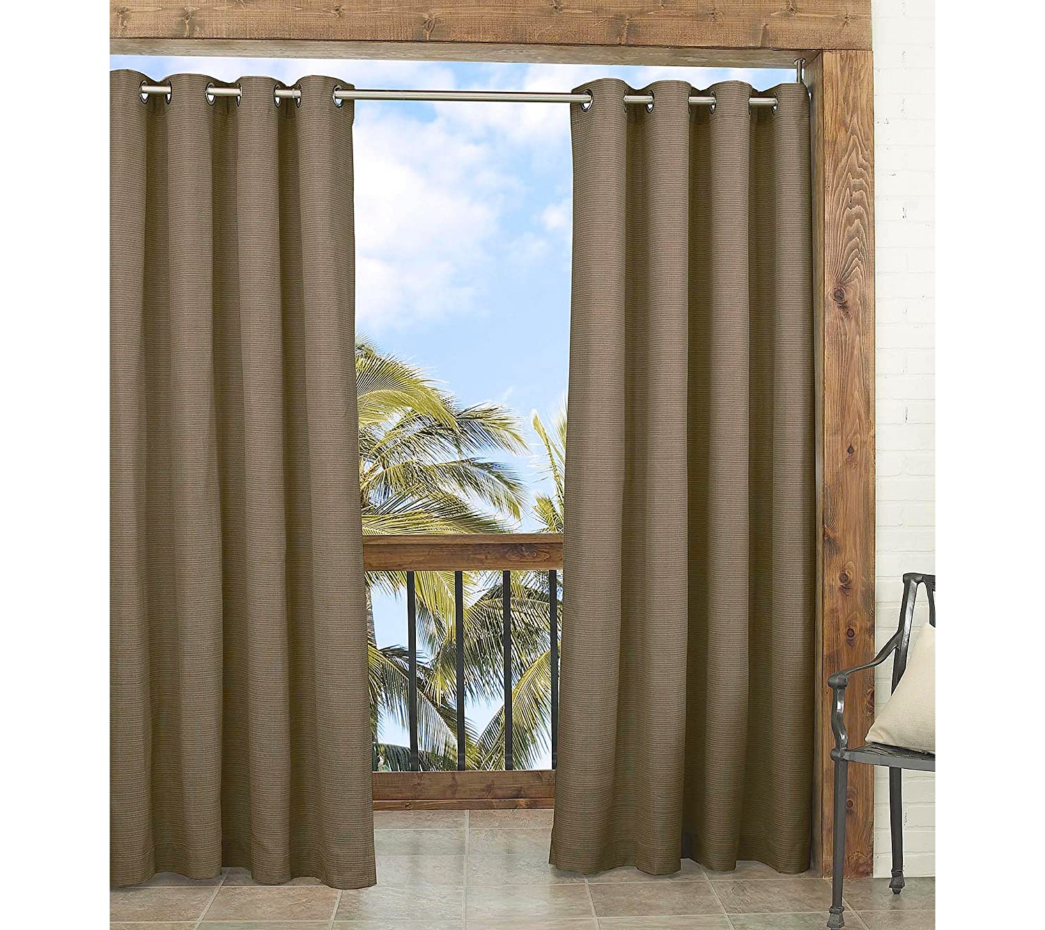 Caramel Ellery Homestyles Outdoor Single Curtain Panel Parasol 14025052095CAM Key Largo 52-Inch by 95-Inch Indoor