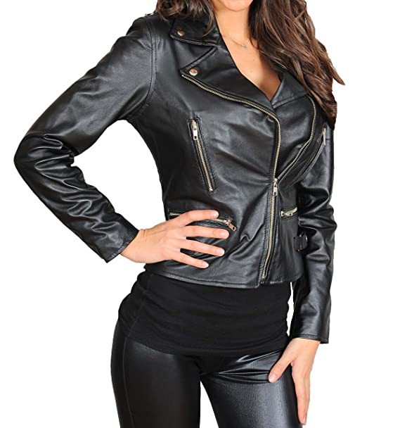 newest 3f811 1c322 House Of Leather Sottile Fit Croce Zip Giacca di Pelle Stile ...