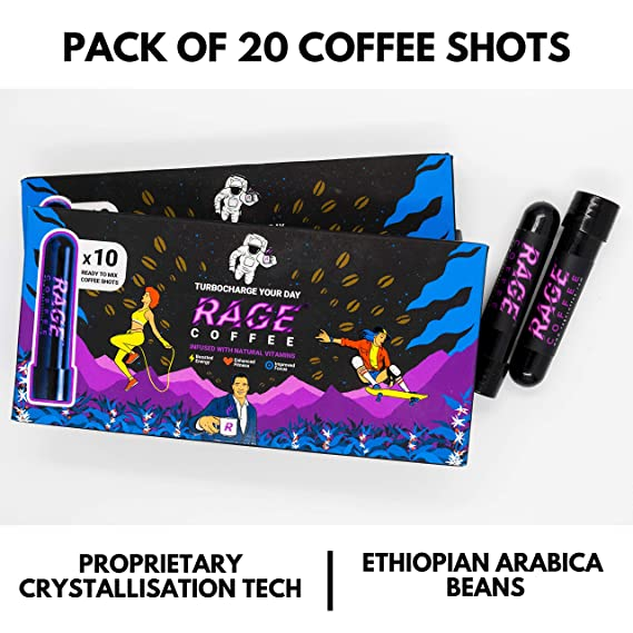 Rage Coffee - Premium 100% Ethiopian Arabica Instant Coffee Crystals  Infused with Natural Vitamins - 3 25 GMS x 20 Tube Shots | Award Winning  Healthy